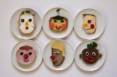 foodfaces (virginhoney) Tags: people food vegetables cheese bread fun funny faces sandwich creamcheese eatable butterbrot porksausage starschnitten