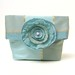 Foldover Pouch Make-up Clutch Bag Purse Organizer Winter Ice Blue Flower Shimmer