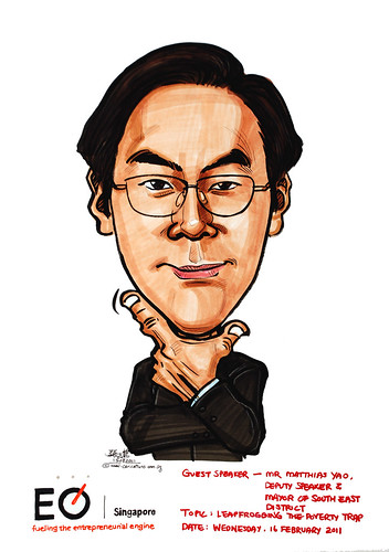 Caricature of Matthias Yao for EO Singapore