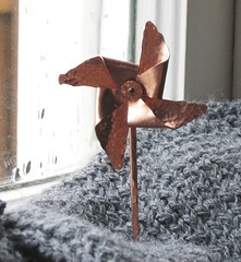 Copper Pinwheel Shawl Pin 2
