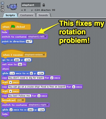 Fixing Rotation Problem in Scratch