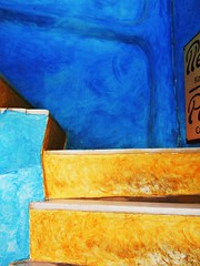 "Santorini ... going upstairs (RenateEurope) Tags: cruise art stairs nikon santorini greece coolpix 2010 nationalgeographic kreuzfahrt aidadiva somethingblueinmylife s8000 ""nikonflickraward"" ""flickraward östlichesmittelmeer"