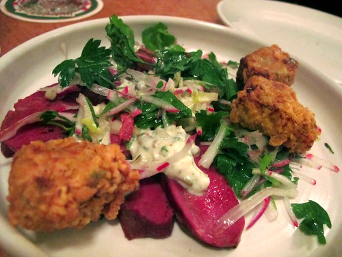 Smoked ox heart and crumbed sweetbread salad