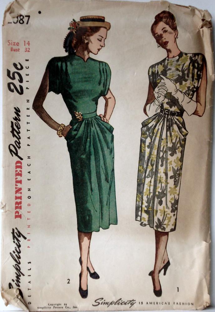 1947 Simplicity 2087 Draped Dress Pattern