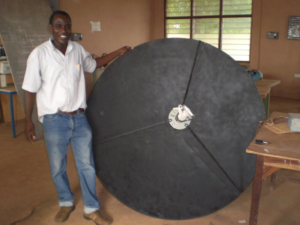 Baba Salifu shows the satellite that he made from scratch in Tamale (Ghana)