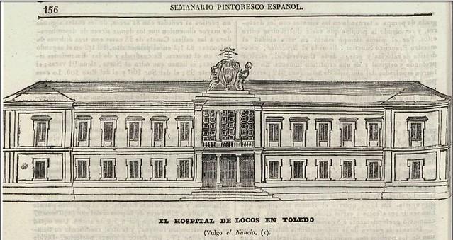 Fachada del Hospital del Nuncio. Grabado publicado en 1840 en el Semanario Pintoresco Español