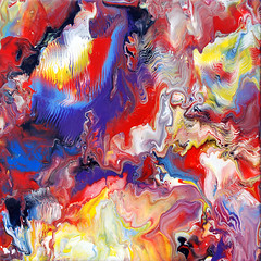 Colourful Fluid Painting 41 (markchadwickart) Tags: blue red white black color colour art water lines yellow painting square flow effects movement colorful paint artist acrylic mark vivid fluid oil flowing colourful liquid chadwick