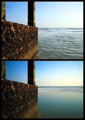 Long Exposure Groyne (jamietabb) Tags: longexposure blue sunset sea summer sky shells water pier sunny groyne bournemouth bluesea greensea