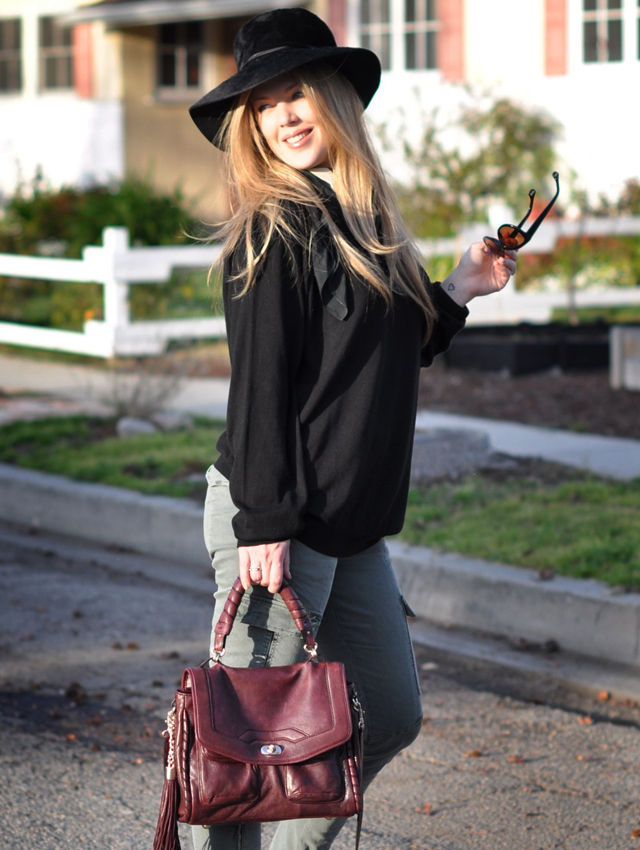 Vintage black hat, Tom Ford Sunglasses, Cynthia Rowley Bag with tassels, J Brand Houlihan skinny cargo pants, steve madden wedges, long blonde hair, vintage silk scarf, shoes, DSC_0094