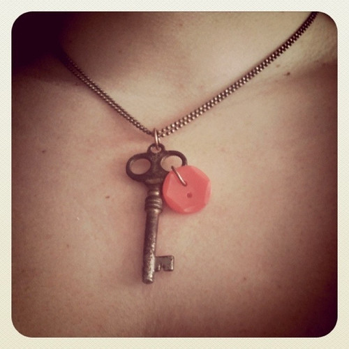 Key and button necklace