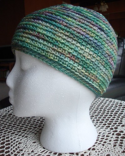 picture of spring spirals beanie from side