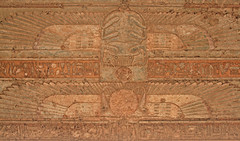 Hieroglyphs at Dendera Temple 4 (ruthhallam) Tags: building architecture temple religion ruin egypt pharaoh hieroglyphs reconstruction hathor dendera hypostylehall