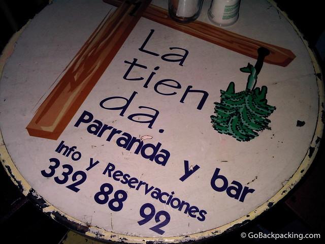 Table at La Tienda