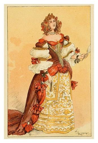 019-Dama de la corte del Rey Sol-Mesdames nos aieules dix siecles d'elegances 1800- Albert Robida