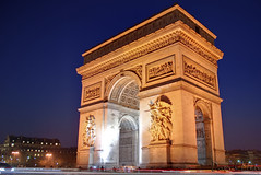 Paris, France - The Arc de Triomphe (GlobeTrotter 2000) Tags: blue vacation paris france tourism monument night europe cityscape capital arc triomphe hour triumph banauebatadasiaphilippinesriceterraces