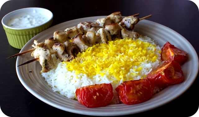 Grilled Saffron Chicken Skewers Recipe — Dishmaps