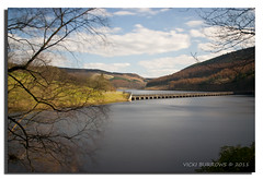 LOOKING OUT TO LADYBOWER (vicki127.) Tags: longexposure trees water canon300d branches peakdistrict pipe bluesky hills ladybowerreservoir fluffyclouds digitalcameraclub absolutelyperfect beautifulphoto youmademyday platinumphoto flickraward ashopton citrit elitephotography thisphotorocks ilovemypics march2011 artofimages hairygitselite adobephotoshopcs5 ringofexcellence vickiburrows vicki127