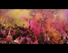 Holi Festival of Colors (Galactic Dreams) Tags: world pink blue people color love yellow festival fun temple hands paint child purple teal indian crowd magenta toss splash dust hindu throwing colorfestival indiantemple 2011 explored festivalofcolor colordust