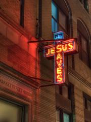 Jesus Saves (jeffs4653) Tags: usa sign night geotagged newjersey neon raw unitedstates jesus mission jesussaves morristown hdr cameraraw photomatix canong9 marketstreetmission geo:lat=4079640176 geo:lon=7448202074