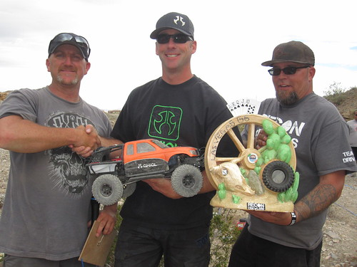 Brian Parker and Brad Bailey of RECON Present Thom Kowatch [center] his First Place at RECON G6 CHALLENGE Gamblers Paradise Presented By Axial Las Vegas Nevada April 2nd, 2011 (256)