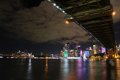 Sydney Harbour @ Night (lukedrich_photography) Tags: australia oz commonwealth        newsouthwales nsw canon t6i canont6i history culture sydney       metro city vivid night light dark longexposure harbour bridge steel arch rail train vehicle bicycle pedestrian transport cbd centralbusinessdistrict northshore view coathanger portjackson bradfiled road highway expressway cahill park overlook skyline viewpoint cityscape water architecture milsons point circular quay opera house music performing arts centre venue unesco performance art engineering concert