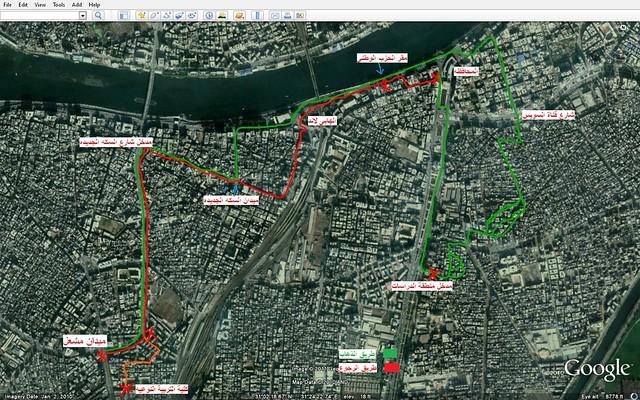 خط سير مسيرة يوم الغضب 25 يناير بمدينة المنصوره