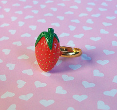 Strawberry Ring (Cantankerous Cupcake) Tags: food fruit strawberry jewelry ring polymerclay