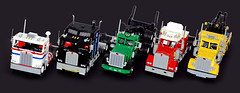 1:13 scale US trucks lineup (Maciej Drwiga) Tags: lego logging towing peterbilt kenworth moc wrecker aerodyne legotruck