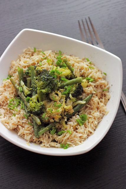 Broccoli, Green beans and Leeks Brown Rice