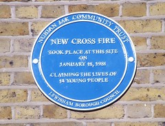 Photo of New Cross Fire blue plaque