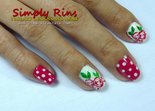 Valentine's Nail Art Bed of Roses 03