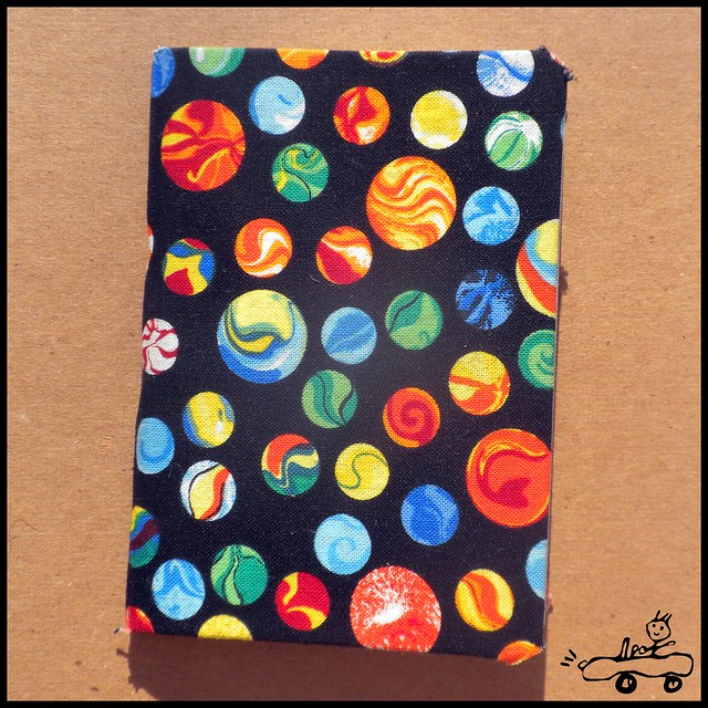fabric covered mini notebook, marbles