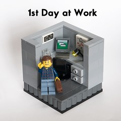Back to work (new job) (ted @ndes) Tags: office lego cubicle system minifig vignette moc 8x8 wooohooo legovignette finallybacktowork