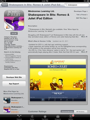 Shakespeare in Bits: Romeo and Juliet iPad Edition
