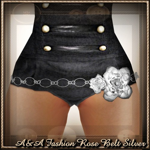 A&A Fashion Rose Belt Silver