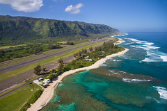 "North Shore aerial of Oahu, Hawaii (IronRodArt - Royce Bair (""Star Shooter"")) Tags: ocean blue sea sky beach water coral point hawaii waves oahu sandy aerial hidden northshore tropical reef airfield dillingham kaena oahunorthshore makuleia"