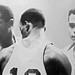 Celtic three--Bill  Russell,Satch Sanders, Wayne Embry