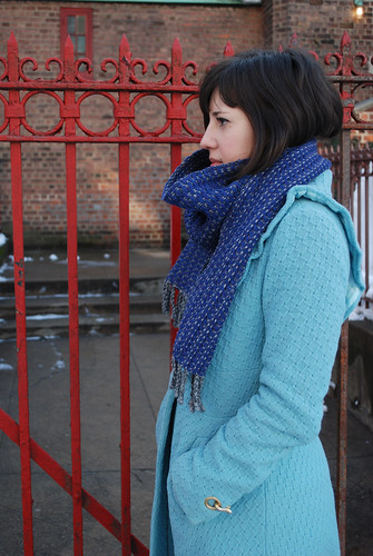 Sonya's grape and heather gray scarf
