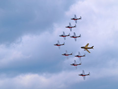 Sabre And Snowbirds 2 (ConcordeNick ArtPhoto) Tags: canada airplane fly flying winnipeg aircraft aviation nick flight olympus manitoba airshow concorde dslr e5 artphoto 17wing concordenick concordenickartphoto wwwconcordenickcom concordenickcom