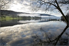 EARLY MORNING MIST, CONISTON, LAKE DISTRICT (IMAGES OF WALES.... (TIMWOOD)) Tags: trees england mist lake clouds reflections pier early jetty branches sony lakedistrict hills dew cumbria alpha coniston langdales bleatarn a700 conistonwaters mygearandme