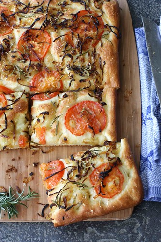 Focaccia with Caramelized Onions, Tomatoes & Rosemary Recipe