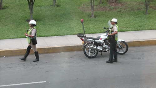 Biker Chick Traffic Cops in Lima.