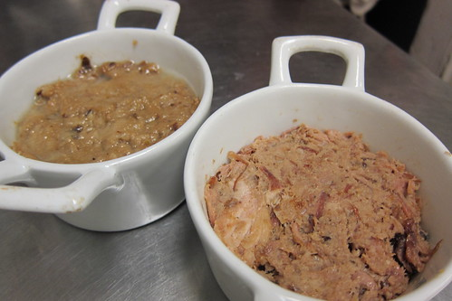 Making Pork Rillette: Room Temperature Rillette Made the Day Before (left) & Freshly Made Rillette (right)