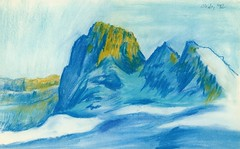 Snowy Mountains (Wasfi Akab) Tags: blue original light shadow italy white mountain snow mountains cold color art nature beautiful beauty yellow painting paper landscape geotagged europe paint artist italia artistic drawing pastel iraq east painter draw crayon exile middle perugia iraqi ocher middleast akab wasfi