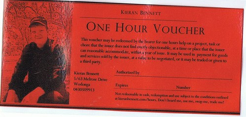 A blank voucher issued by Kieran Bennett
