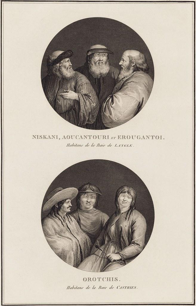 Niksani, Aoucantour et Erougantoi - habitans de la Baie de Langle + Orotchis - Habitans de la Baie de Castries