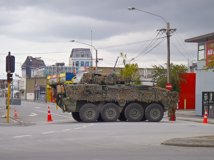 tank blocks intersection of Christchurch City Centre