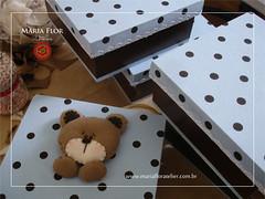 marrom com azul ursinho...em andamento (mariafloratelier2) Tags: felt feltro urso marrom poá marromcomazul
