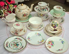 Mixed Vintage China Tea Set with Floral Teapot (cake-stand-heaven) Tags: pink green vintage cakestand gold teacups teapot afternoontea teaparty teaset saucers finechina shabbychic teaplates tieredcakestand