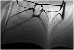 Glasses, book, heart [Explored] (Nas t) Tags: bw glasses book nikon heart books study vr dg 105mm